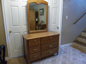 Solid wood oak dresser with mirror
