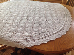 Two crocheted tablecloths