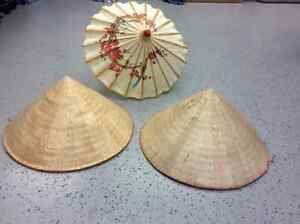 Japanese straw hats(2) and umbrella
