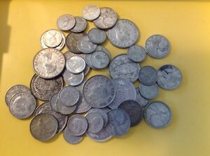 Multiple groups of $10 face value of Canadian silver coins