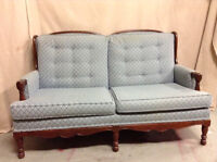 189: Vintage Heavy Wood Blue and Cream Button Back Loveseat $265