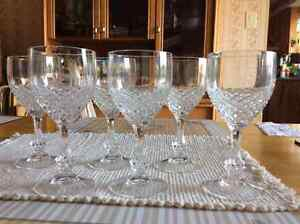 Crystal wine glasses rounded
