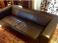 Faux black leather 3 Seater