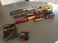 Reduced! HO model train sets, table with tracks, buildings, etc