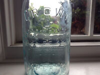 Aqua one quart Crown Imperial mason jar