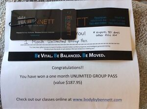 Body by Benett Unlimited Group Pass (one month)