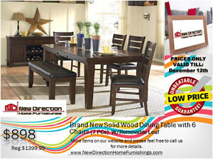 """◆Brand New 7 PCs Solid Wood Dining Tbl & 6 Chairs w/18"""" Leaf◆"""
