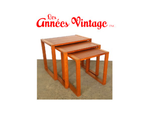 Set 3 Tables Gigognes Teck Teak Mid Century 1970