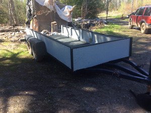 """13ft x 67"""" TANDEM TRAILER  NEEDS LITTLE TO FINISH 799 CASH FIRM!"""