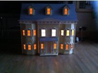 Victorian style large dolls house, furniture and dolls included