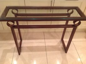 Glass hall / console table and mirror