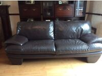 3&2 real leather dark brown suite