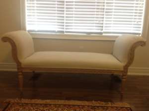 Sofa Bench with Intricate Carving on Front and Back