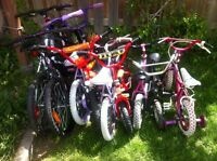 Girls and boys bikes (for ages 2-10, $20 - $30 each)