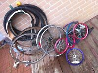 Massive lot of bikes tires and rims ($5 each, all for $20)
