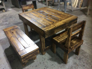 RECLAIMED WOOD TABLES, CHAIRS AND BENCHES