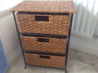 M&S 3 DRAW WICKER UNIT