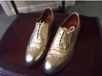 Ladies Gold Genuine Leather Brogues - Office - Size 6