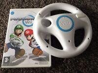 Nintendo wii game Mariokart with wheel ( mario kart )