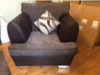 Grey and black armchair