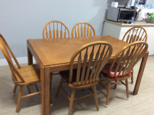 Solid wood dinning table with six chairs