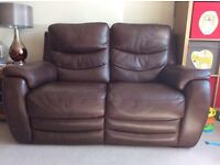 Violino 2 x Two Seater Sofas & Arm Chair - brown leather electric reclining