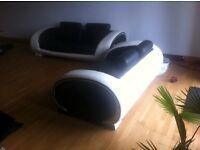 Art Deco Leather Look 2 + 3 Seater Sofa Set