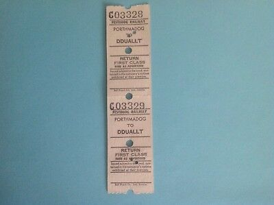 2 FESTINIOG RAILWAY FIRST CLASS RETURN TICKETS PORTHMADOG TO DDUALLT