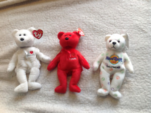 3 Collectible Beanie Bears including Shooting Star