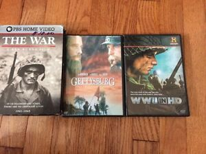 PBS DVDs series THE WAR , WWII and Gettysburg