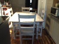 Solid wood table and six chairs