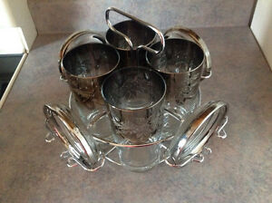 Glass set with coasters and stand