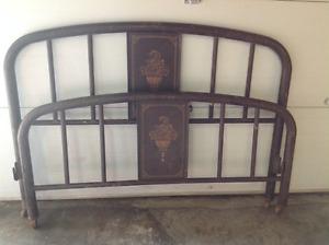 Antique metal headboard and footboard
