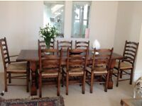 Eight seater table, chairs and sideboard from Walcott Reclamation, Bath (rrp £10,000) SOLID OAK