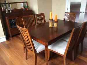 Dining table, chairs, buffet with mirror