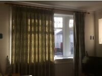 Leaf pattern living room curtains & pole