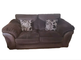2 x Brown Sofology 3 seater sofas with cushions