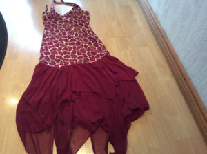 HALTER NECK SPARKLY TOP  BURGANDY DRESS WITH FLARE