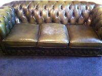 Chesterfield sofa+ Wingback Armchair + Footstool