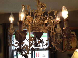 136: White Painted Floral Chandelier