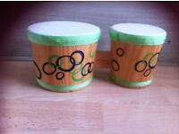 Childrens toy wood drum