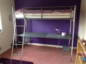 Child/young person's metal frame high bed with desk under, good condition