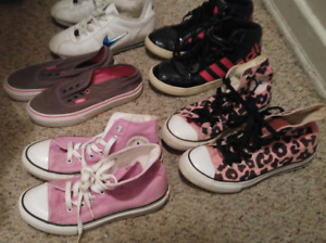 Girls shoes size 2, 2.5 3 converse high tops adidas vans nike