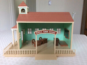 Vintage Children's 'Maple Town School' House and Accessories