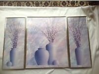 3 set flowers pictures glass with gold frame £10