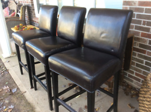 Three Large Pub Brown Leather Chairs