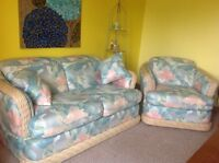Rattan Love seat and armchair