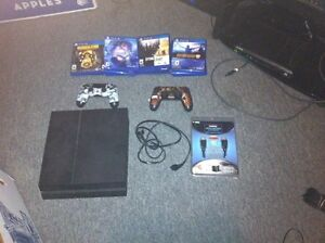 PS4 2 ctrl 13 games headphones 2 boxes & cords