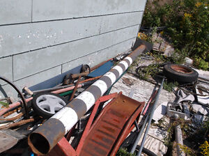 "12 FOOT  5 "" ROUND LONG STEEL PIPE WITH 15""X12 PLATE1/4"""