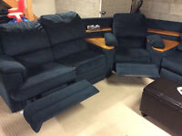 Large sectional couch with 2 recliners and pull out bed